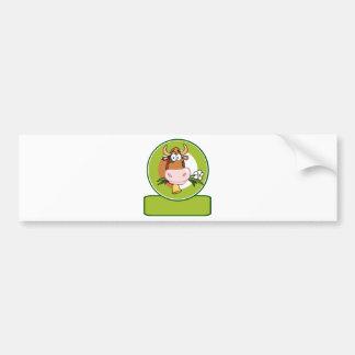 Dairy Cow Cartoon Logo Mascot Car Bumper Sticker