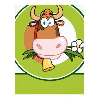 Dairy Cow Cartoon Logo Mascot Letterhead