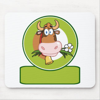 Dairy Cow Cartoon Logo Mascot Mouse Pad