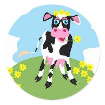 Dairy Cow Classic Round Sticker