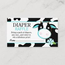 Dairy Cow Farm Baby Shower Diaper Raffle - Blue Enclosure Card