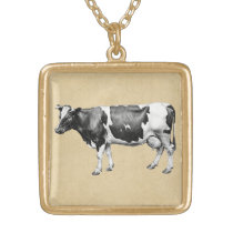 Dairy Cow Gold Plated Necklace
