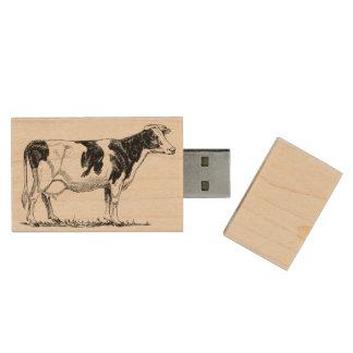 Dairy Cow Holstein Fresian Pencil Drawing Wood USB Flash Drive
