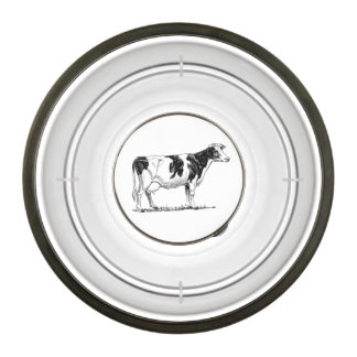 Dairy Cow Holstein Fresian Pencil Drawing Pet Bowl