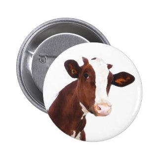 Dairy Cow -  Painted Brown & White Holstein 2 Inch Round Button
