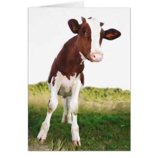 Dairy Cow -  Painted Brown & White Holstein Cards