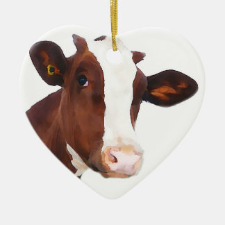 Dairy Cow -  Painted Brown & White Holstein Double-Sided Heart Ceramic Christmas Ornament