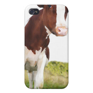Dairy Cow -  Painted Brown & White Holstein iPhone 4/4S Cases
