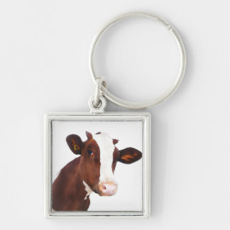 Dairy Cow -  Painted Brown & White Holstein Keychain