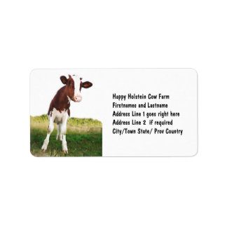 Dairy Cow -  Painted Brown & White Holstein Custom Address Labels