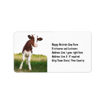 Dairy Cow -  Painted Brown & White Holstein Label