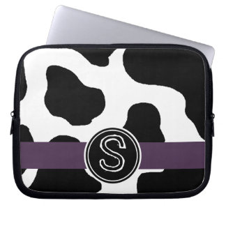 Dairy Cow Pattern with Purple Monogrammed Laptop Sleeves