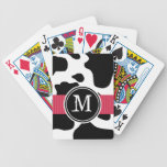 Dairy Cow Pattern with Red Monogrammed Bicycle Playing Cards