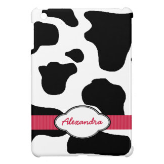 Dairy Cow Pattern with Red Monogrammed iPad Mini Case