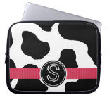 Dairy Cow Pattern with Red Monogrammed Laptop Sleeves