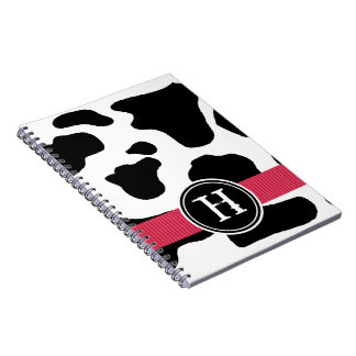 Dairy Cow Pattern with Red Monogrammed Spiral Notebook