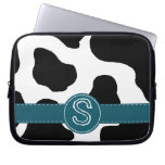 Dairy Cow Pattern with Teal and Monogram Laptop Computer Sleeves