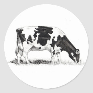 DAIRY COW, PENCIL ART CLASSIC ROUND STICKER
