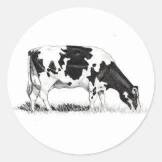 DAIRY COW, PENCIL ART CLASSIC ROUND STICKER