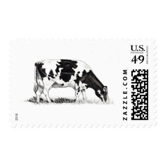 DAIRY COW, PENCIL ART POSTAGE STAMPS