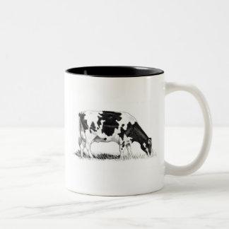 DAIRY COW, PENCIL ART: REALISM Two-Tone COFFEE MUG