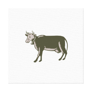 Dairy Cow Side View Woodcut Canvas Print