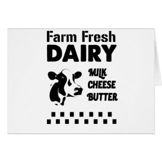 Dairy farm fresh, milk cheese butter card