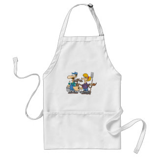 dairy farmers with silly cow cartoon adult apron