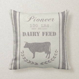 Dairy Feed Grain Sack Throw Pillow