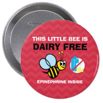 Dairy Free Bee Personalized Allergy Alert Pinback Button