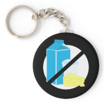 Dairy Free Black No Lactose or Dairy Allergy Kids Keychain