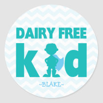 Dairy Free Kid Superhero Boy Allergy Stickers