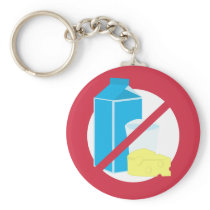 Dairy Free Red No Lactose or Dairy Allergy Alert Keychain