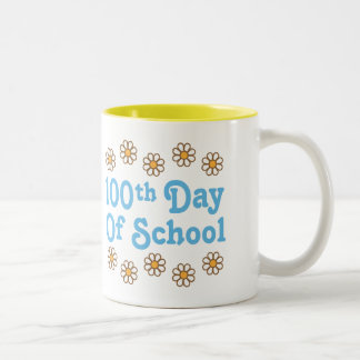 Daisies 100th Day Of School Teacher Gift Two-Tone Coffee Mug