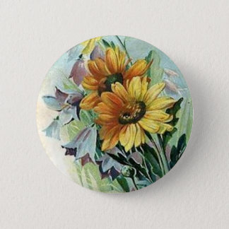 Daisies and Bluebells Button
