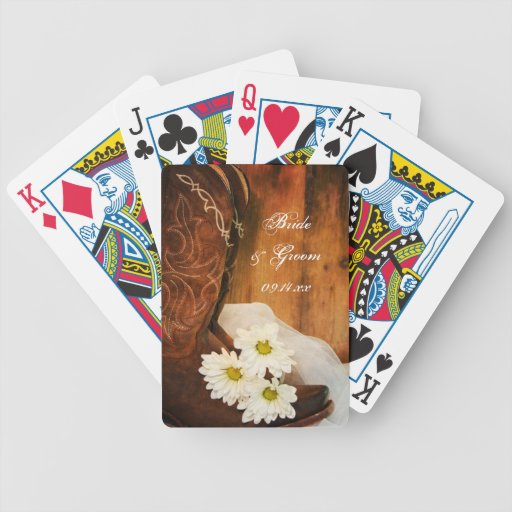Daisies and Boots Country Wedding Playing Cards
