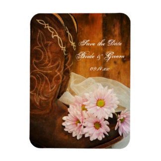 Daisies and Boots Country Wedding Save the Date Rectangular Photo Magnet