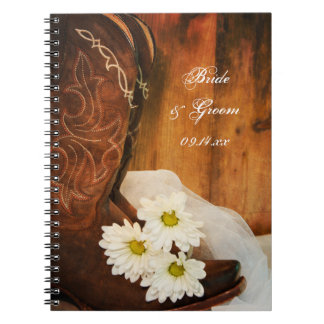 Daisies and Boots Country Wedding Spiral Notebook