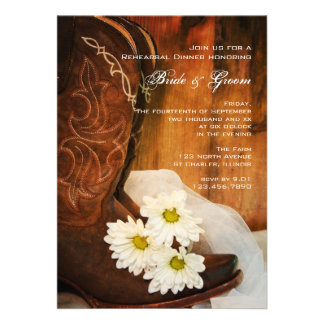 Daisies and Boots Wedding Rehearsal Dinner Invite
