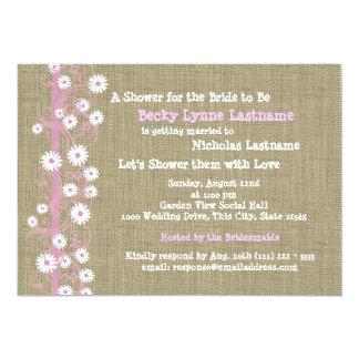 Daisies and Burlap Pink Bridal Shower Card