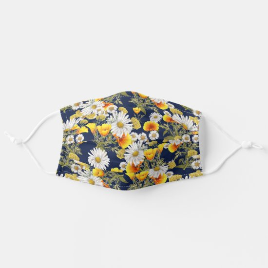 Daisies and Buttercups on Navy Cloth Face Mask