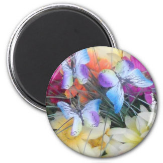 Daisies and Butterflies 2 Inch Round Magnet