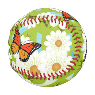 Daisies and butterflies baseball