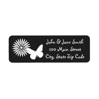 Daisies and Butterflies in Black Address Label