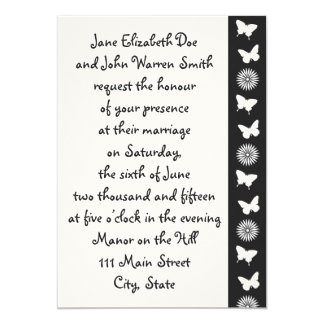 Daisies and Butterflies in Black Invitation