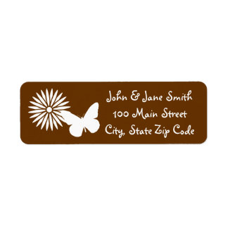 Daisies and Butterflies in Chocolate Address Label