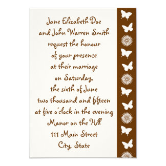 Daisies and Butterflies in Chocolate Invitation