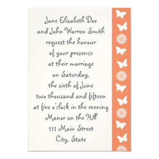 Daisies and Butterflies in Coral Invitation