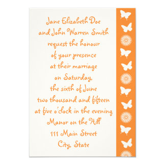 Daisies and Butterflies in Orange Invitation
