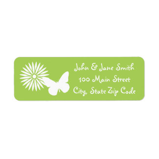 Daisies and Butterflies in Peridot Address Label